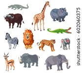 cartoon african animals set... | Shutterstock .eps vector #602060375