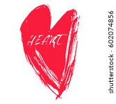 grunge hand drawn ink heart.... | Shutterstock .eps vector #602074856