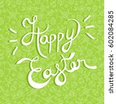 happy easter greeting card ... | Shutterstock .eps vector #602084285