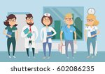 doctor character man and woman... | Shutterstock .eps vector #602086235