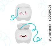 set with cute dental floss ...   Shutterstock .eps vector #602089106