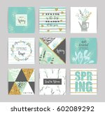 set of artistic creative spring ... | Shutterstock .eps vector #602089292