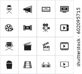 set of 16 editable movie icons. ... | Shutterstock .eps vector #602095715