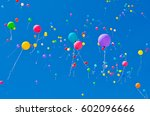 Color Balloons At Blue Sky