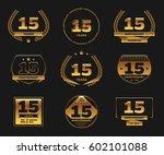 fifteen years anniversary... | Shutterstock .eps vector #602101088