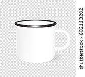 enamel mug mock up. vector... | Shutterstock .eps vector #602113202