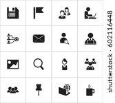 set of 16 editable bureau icons....