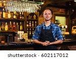 portrait of cheerful barman... | Shutterstock . vector #602117012