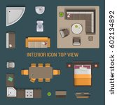 Set top view for interior icon design. Isolated Vector Illustration. Flat interior top view icon | Shutterstock vector #602134892