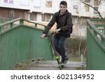 young skating in the city with... | Shutterstock . vector #602134952
