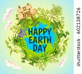 earth day. vector illustration... | Shutterstock .eps vector #602138726