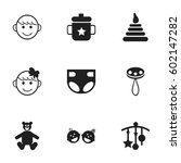 set of 9 editable baby icons....
