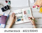 planning traveling trip notes... | Shutterstock . vector #602150045