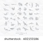 set of animals white origami... | Shutterstock .eps vector #602153186