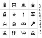 set of 16 editable hotel icons. ...