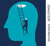 businessman brain searching | Shutterstock .eps vector #602159405