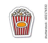 doodle icon  sticker. popcorn.... | Shutterstock .eps vector #602176532