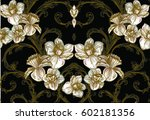 baroque pattern with summer... | Shutterstock .eps vector #602181356