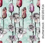 pattern with summer flowers... | Shutterstock .eps vector #602181416