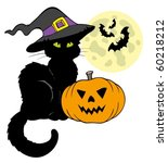 halloween cat silhouette with... | Shutterstock .eps vector #60218212