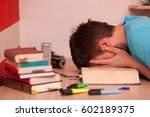 tired student resting his head... | Shutterstock . vector #602189375