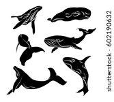 big whale  black silhouette... | Shutterstock .eps vector #602190632