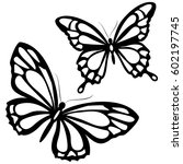 Stock vector black butterfly isolated on a white 602197745