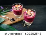 acai berry smoothie topped with ... | Shutterstock . vector #602202548