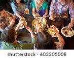 leisure  food  drinks  people... | Shutterstock . vector #602205008