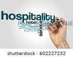 hospitality word cloud concept... | Shutterstock . vector #602227232