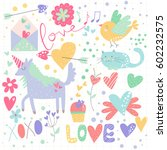 a collection of fun valentine... | Shutterstock .eps vector #602232575