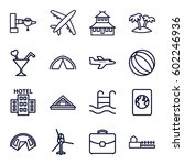 tourism icons set. set of 16... | Shutterstock .eps vector #602246936