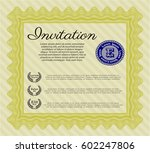 yellow invitation template.... | Shutterstock .eps vector #602247806