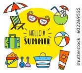 summer activities vector... | Shutterstock .eps vector #602269532