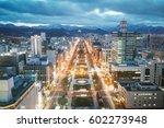 Sapporo Night View from Sapporo TV Tower in Sapporo City, Hokkaido, Japan.