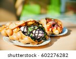 the hong kong waffles and paper ... | Shutterstock . vector #602276282