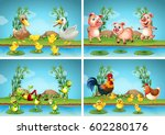 scenes with farm animals... | Shutterstock .eps vector #602280176