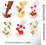 big collection icons of fruit... | Shutterstock .eps vector #602296658