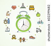 daily routines fittness concept ... | Shutterstock .eps vector #602299682