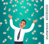 happy businessman catches money ... | Shutterstock .eps vector #602301032