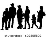 big crowds people on white... | Shutterstock .eps vector #602305802