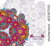 vector floral pattern in doodle ... | Shutterstock .eps vector #602307032