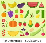 set of fruits and vegetables.... | Shutterstock .eps vector #602310476