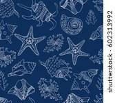 nautical seamless pattern. sea... | Shutterstock .eps vector #602313992