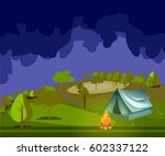 camping in forest at night. | Shutterstock .eps vector #602337122