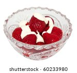 Small photo of Strawberries with cream in a crystal vase