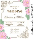wedding invitation with flowers ... | Shutterstock .eps vector #602359412