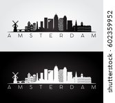 amsterdam skyline and landmarks ... | Shutterstock .eps vector #602359952