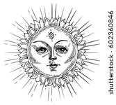 hand drawn sun with face and...   Shutterstock .eps vector #602360846