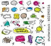 set of hand drawn colored... | Shutterstock .eps vector #602390516